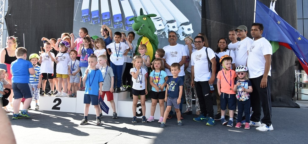 Embassy participated in the Vzajemna Kids' Cycling Marathon as part of celebrations to mark the 150th birth anniversary of Mahatma Gandhi on Saturday, 8 June 2019