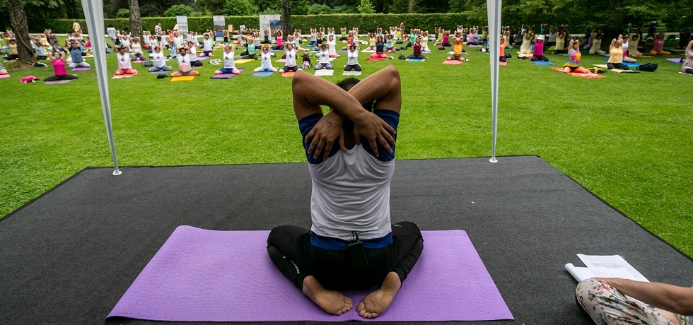 Teacher of Indian Culture Mr. Mukesh Chandra conducted the Common Yoga Protocol at 5th IDY in the Arboretum Volčji Potok