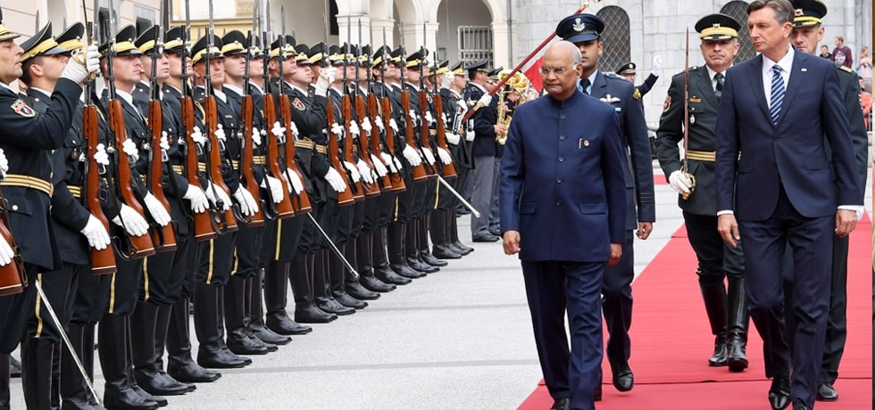 President inspects Guard of Honour during his Ceremonial Welcome at Congress Square, Ljubljana