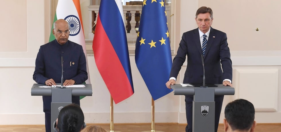 President Republike Indije delivers Press Statement during his State Visit to Slovenia