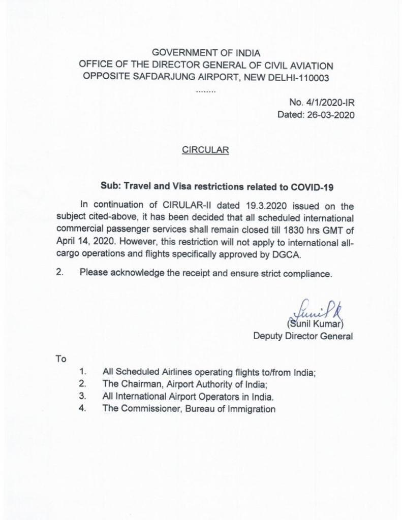 Government of India's Travel and Visa Restrictions related to COVID-19 dated 26 March 2020