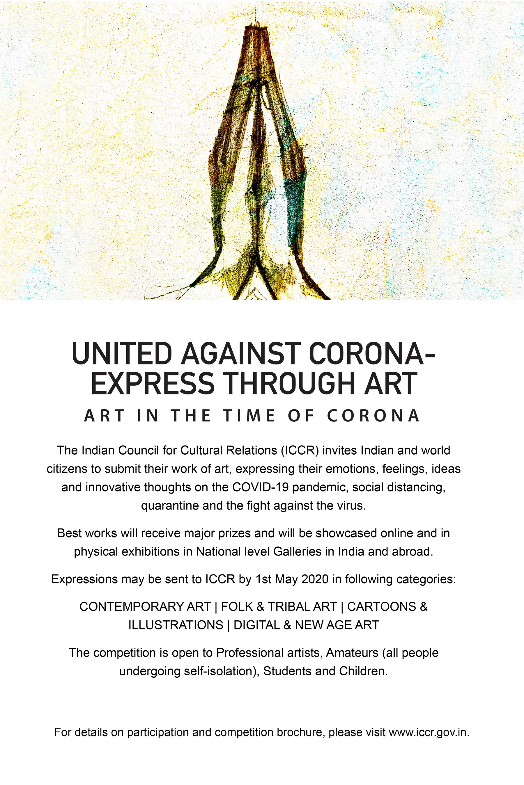 "ICCR launches a global painting competition ""United Against CORONA- Express Through Art"""