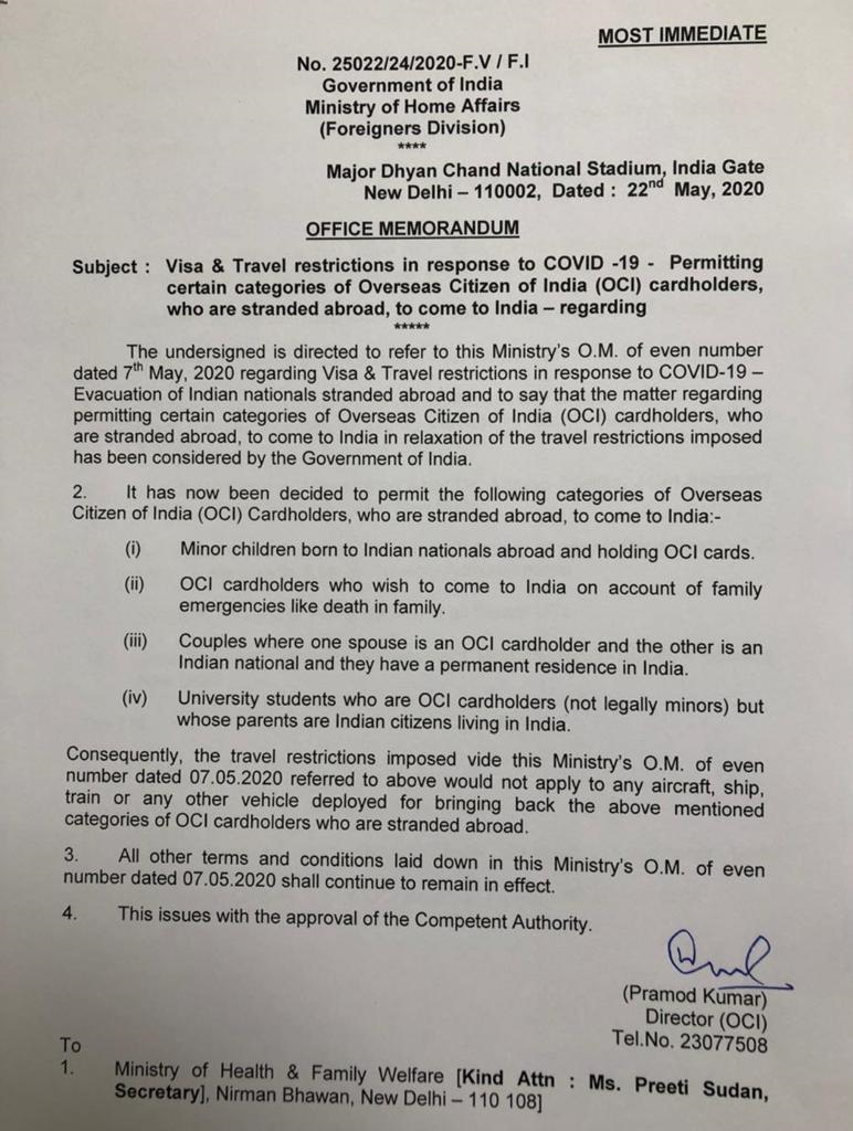 Visa and Travel restrictions in response to COVID-19 - Permitting certain categories of OCI cardholders who are stranded abroad to come to India