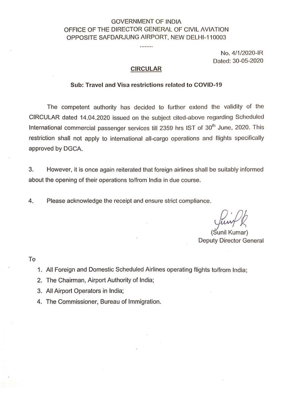 Additional Advisory on COVID-19: Ban on all international commercial passenger aircraft extended till June 30, 2020