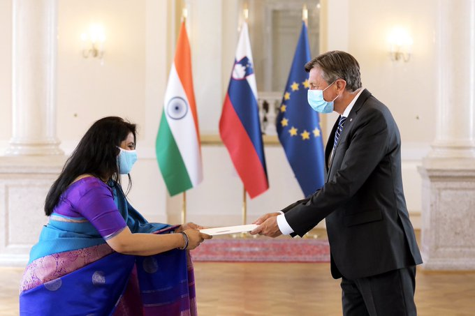 Presentation of Credentials to President of the Republic of Slovenia Mr. Borut Pahor by newly appointed Ambassador Ms. Namrata S. Kumar