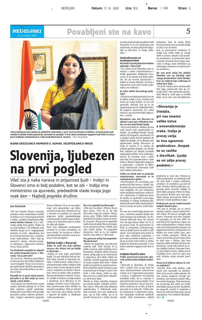 Interview with Ambassador for the Nedeljski dnevnik paper