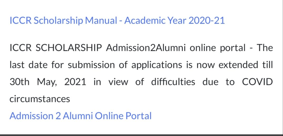 Indian Council for Cultural Relations (ICCR) Scholarship Scheme for 2021-22 without airfare - Date for applications extended till 30 May