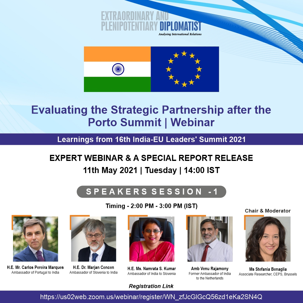 Webinar: Evaluating the Strategic Partnership after the Porto Summit | Learnings from 16th India-EU Leaders' Summit 2021